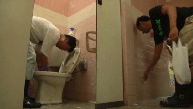 A Japanese social club cleans public toilets as a weekend hobby