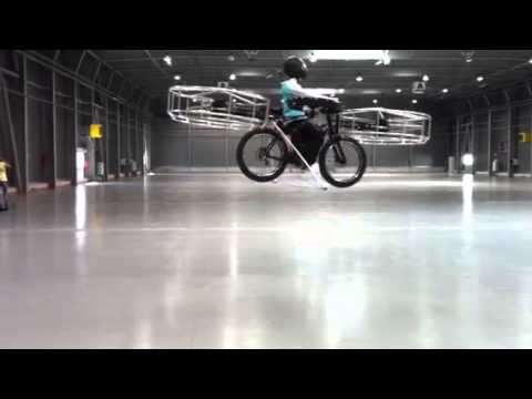 A helicopter bicycle prototype test flight in Prague