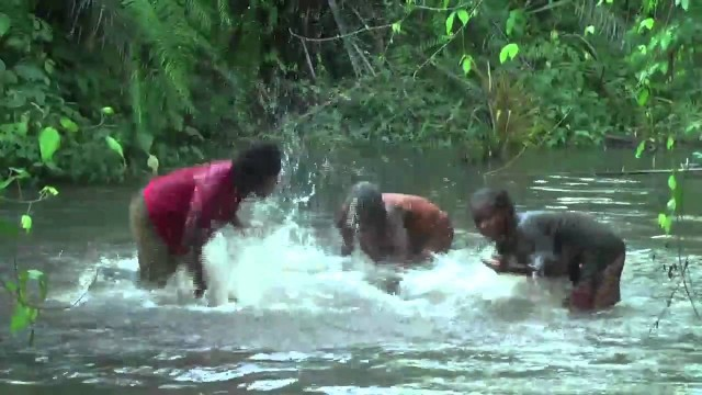 BaAka Forest People play the river like a drum