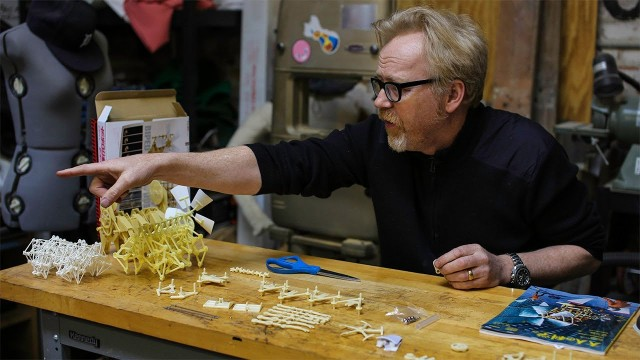 Adam Savage puts together a Strandbeest model kit