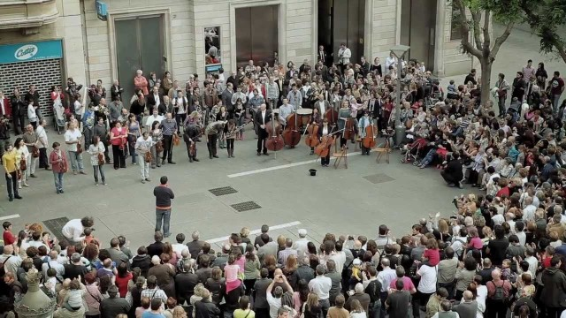 Beethoven's Ode to Joy (a sort of flashmob)