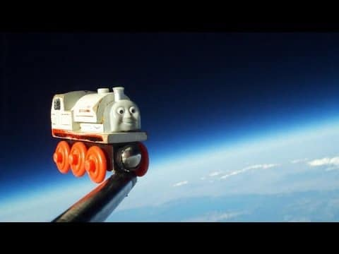Eighteen miles above Earth: A Toy Train in Space
