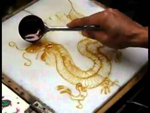 Liquid sugar painting of a Chinese candy dragon