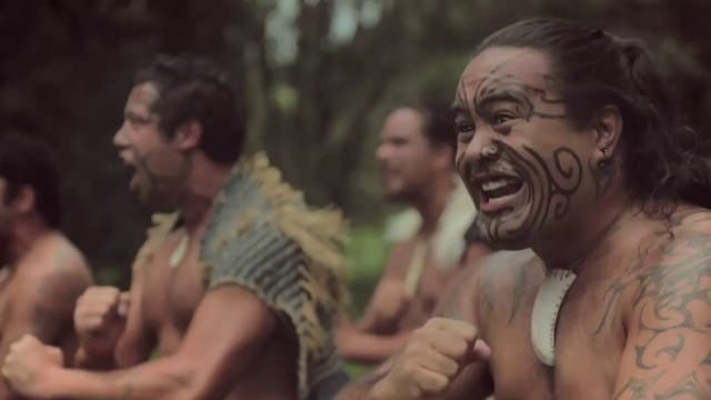 Māori dancers of New Zealand perform a Haka dance