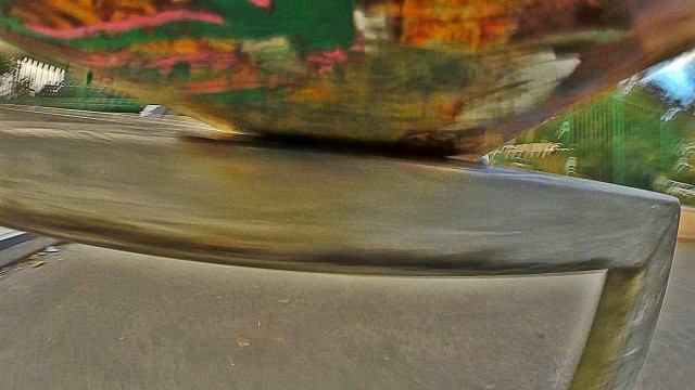 The view from underneath a skateboard