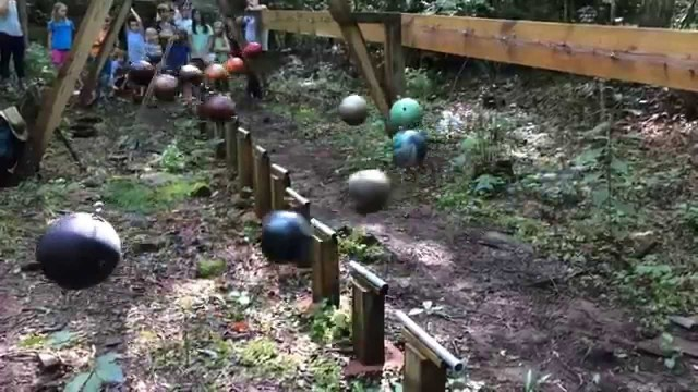 A pendulum wave demonstration with bowling balls