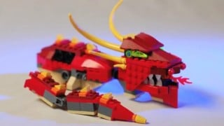A LEGO Dragon self-assembles with stop motion animation