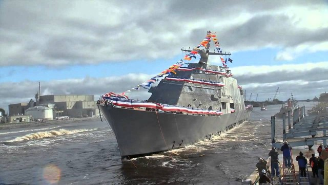 Watch this 3,500 ton combat ship get launched sideways