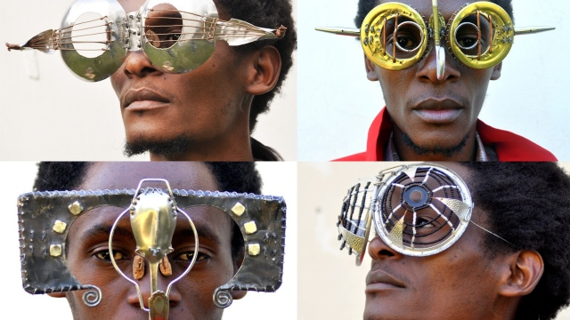 Artist Cyrus Kabiru makes eyeglasses from trash & e-waste