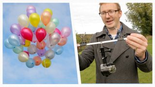 How to make a DIY 'drone' with balloons & a fishing rod