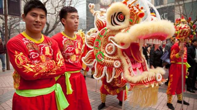 The Chinese Dragon Dance for Shanghai's Spring Festival