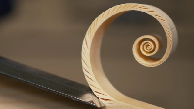 A woodworker creates 'Fibonacci Spiral shavings'