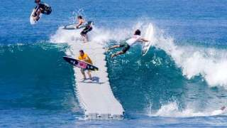 A floating dock launches surfers onto, under, & over waves