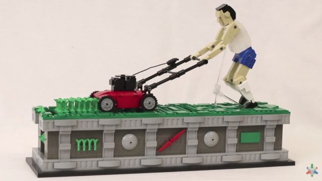 A LEGO lawn mower man endlessly cuts the grass