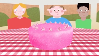 How to equally share a cake between three people