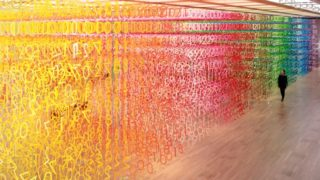Emmanuelle Moureaux's gridded rainbow installations