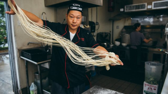 Making noodles by hand at Houston's Uyghur Bistro