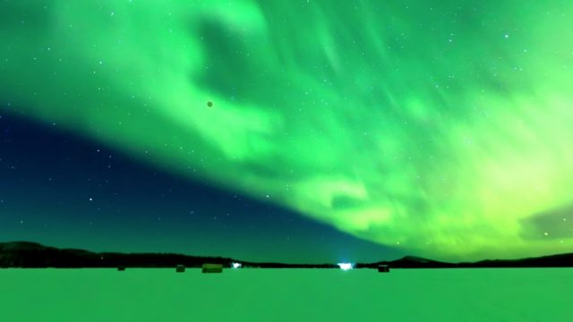 A lunar eclipse and the auroras over Alaska, an 8K 360º time lapse