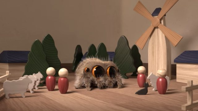Lucas the Spider discovers a tiny wooden village…