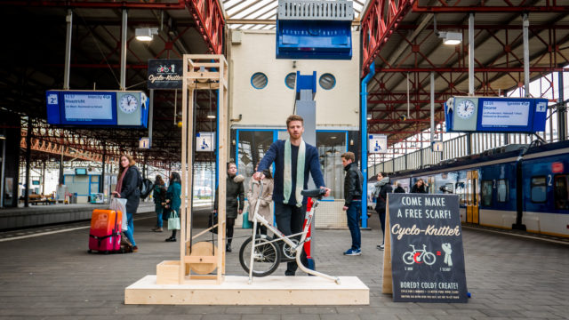 The Cyclo Knitter, a bicycling machine that knits scarves in 5 minutes