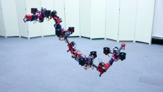 A hovering robot DRAGON that shape-shifts in flight