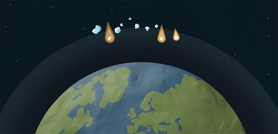 space rocks falling toward earth's atmosphere