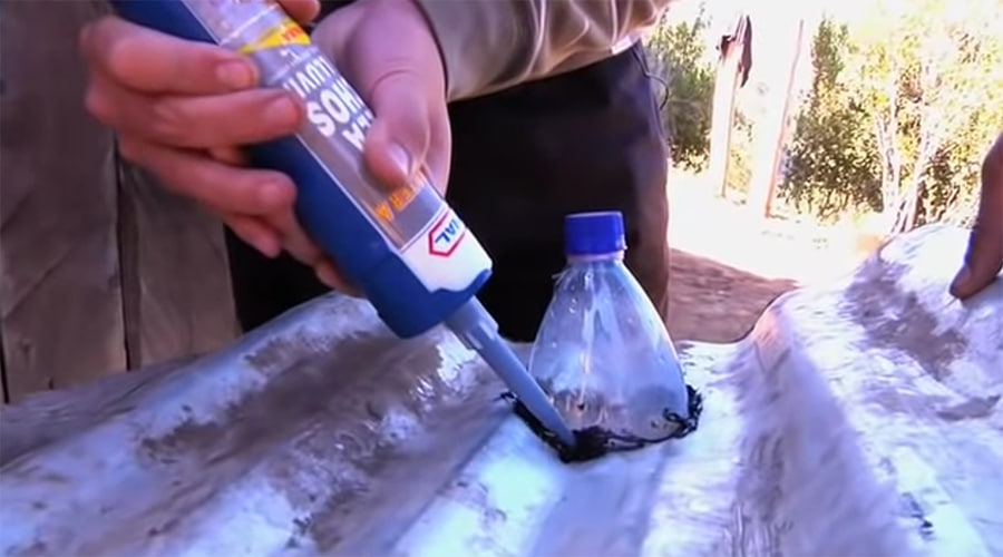 adding the bottle to the roof