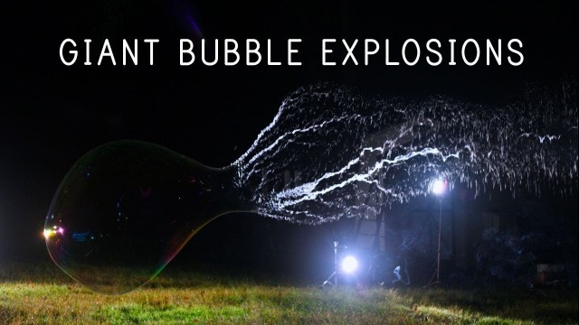 Giant bubble explosions in slow motion