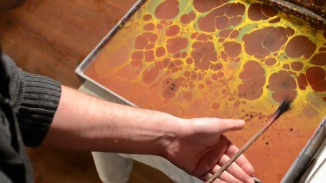 The traditional Turkish paper marbling art of Ebru