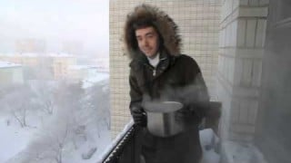 Throwing a pot full of just-boiled water into the -41C air