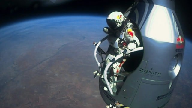 Felix Baumgartner's supersonic freefall from 128k'
