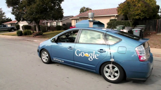 A Google self driving car test with a legally blind man