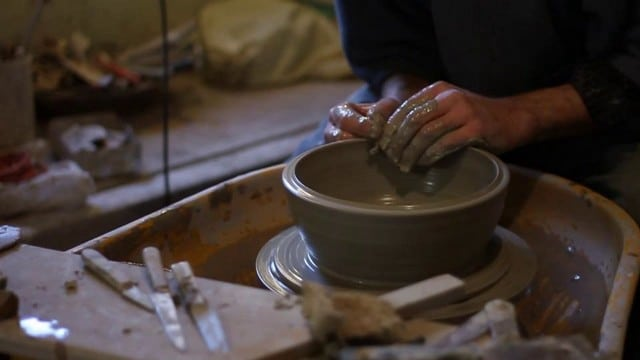 """Riddings Pottery: """"Throwing"""" a bowl on the pottery wheel"""
