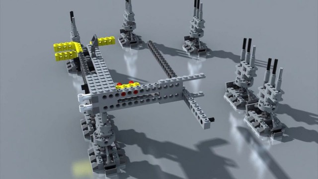 The animated assembly of a LEGO Millennium Falcon
