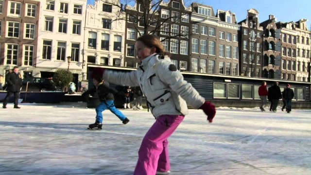 Ice skating on Amsterdam Canals, Winter 2012
