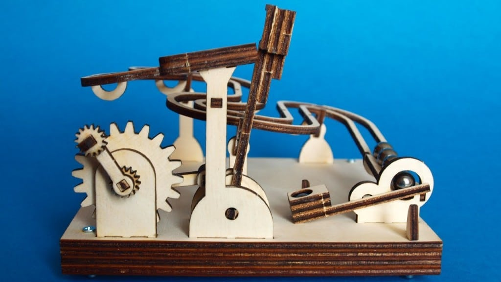 Laser Cut Flat Packed Wood Diy Modular Marble Machine