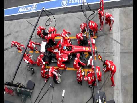 Ferrari F1 pit crew: pit stop in around two seconds
