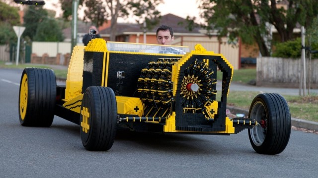 A full sized LEGO car with an air-powered engine