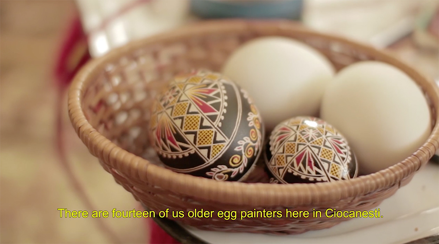 the dyed eggs