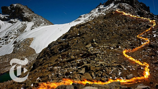 Fire & Ice: Mount Kenya's Lost Glaciers, revisualized with fire