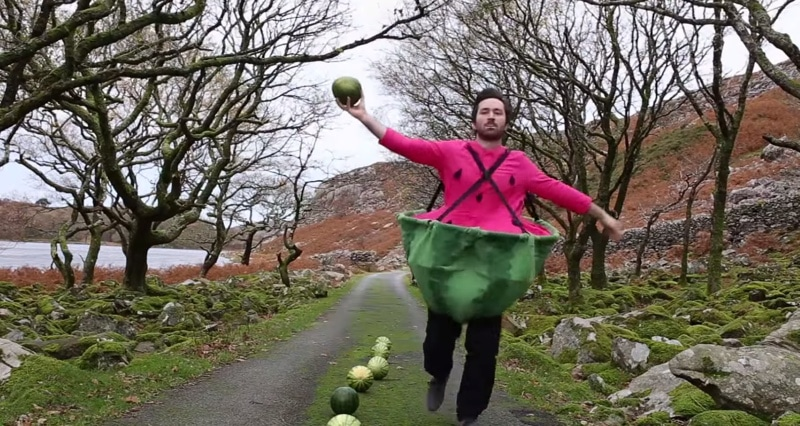 running with watermelon