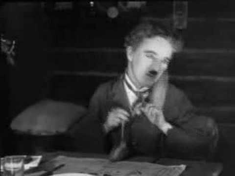 Charlie Chaplin's dinner roll dance from The Gold Rush (1925)