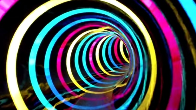This water slide is a tunnel of LED rainbow effects