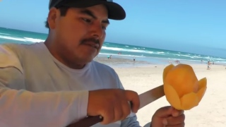 How to Carve a Mango Flower on a Stick