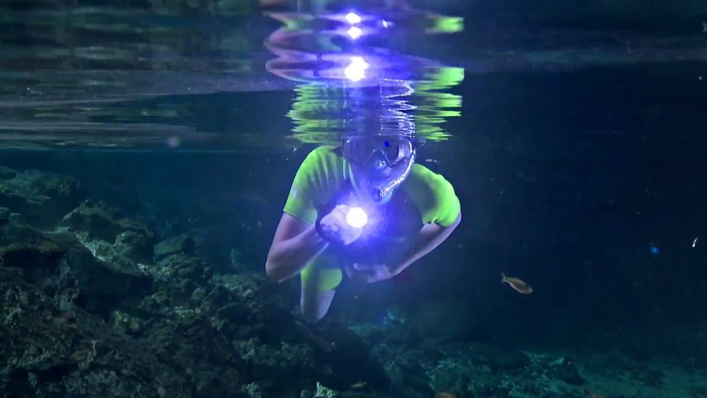 swimming in underwater caves