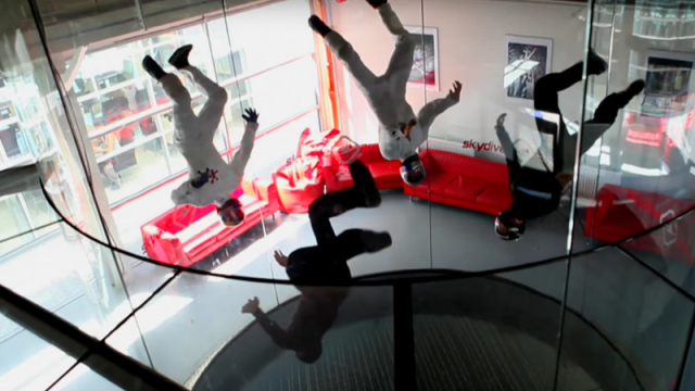 The physics of 'skydiving' wind tunnel acrobats