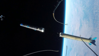 Rocket stage separation footage captured in space