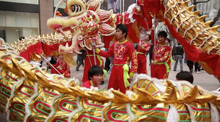 dragon dancers in shanghai