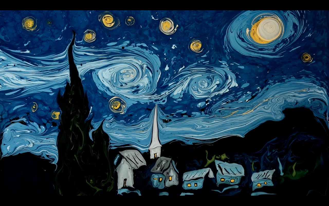 Van Gogh S Starry Night Painted On Dark Water The Kid Should See This