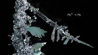 Metal crystals forming in time lapse